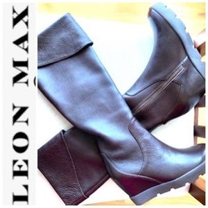 LEON MAX BROWN ZUNI CUFF LEATHER TALL BOOT SZ 8.5